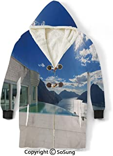 Patio Decor Blanket Sweatshirt,Modern Summer Penthouse with Infinite Pool Ocean Sea Scenery Image Wearable Sherpa Hoodie,Warm,Soft,Cozy,XL,for Adults Men Women Teens Friends,White Sky Blue and Blue