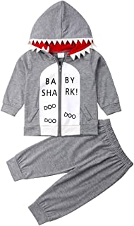 Unisex Toddler Baby Shark Hoodie Outfit Infant Boys Girls Zip Up Sweatshirt Tops+Pants Set Spring Autumn Winter Clothes