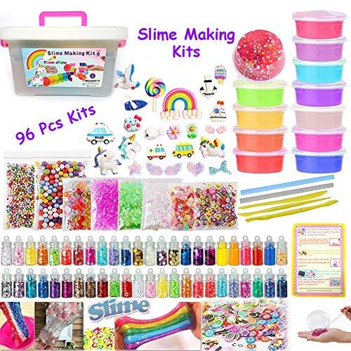 Kit fai da te per realizzare lo slime include 12 slime, 48 vasetti di glitter, 25 perline animali, palline di schiuma, fette di frutta, carta di zucch