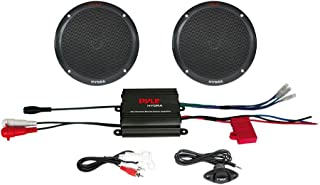"Pyle Marine Receiver Speaker Kit - 2-Channel Amplifier w/ 6.5"" Speakers (2) Waterproof Poly Bag 3.5mm Jack RCA Adaptor for MP3/iPod & Volume Gain Remote Control & Power Protection Circuitry - PLMRKT2B"
