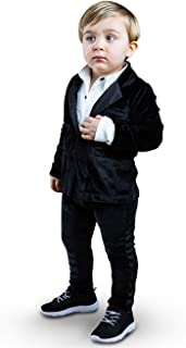 The Tiny Universe Ultimate Boy Tuxedo Onesie, Black Velour Onepiece Tux with Attached White Cotton Undershirt