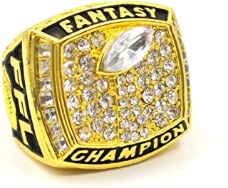 Fantasy Football Championship Silver Gold Rings Trophy Prize (Gold, 8)