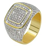 JINAO18K Gold Cluster ICED Out Lab Simulated Diamond Band Micropave Mens Bling Ring (7)