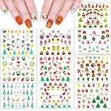 10 Sheets Christmas Nail Art Stickers, Self-Adhesive Tattoos DIY Decals Decoration Xmas Tree Santa Snowflake Snowman Elk Bells Pattern Designs for Women Girls Manicure Salon Party Holiday Favors