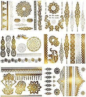 As Seen On TV Shimmer Metallic Jewelry Tattoos Premium Henna Tattoos Mandala, Mehndi, Boho Designs in Gold and Silver - Temporary Fake Shimmer Jewelry - Flowers, Bracelets, Wrist and Arm Bands