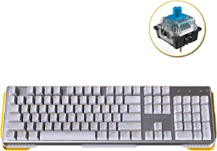 James Donkey 619 Mechanical Keyboard Blue Switch GATERON 104 Key 50 Million Click Programmable 13 Customize Backlit LED NKRO Anti Ghosting Aluminum Chassis USB for Gaming PC Desktop Laptop - White
