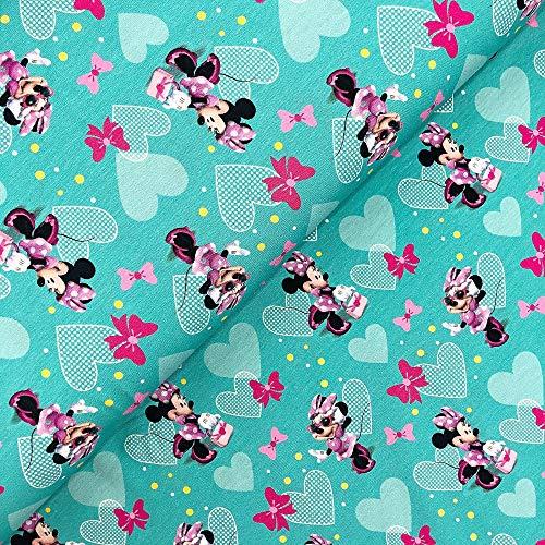 Swafing - Tela (se vende por metros), diseño de Minnie Mouse, color turquesa y rosa