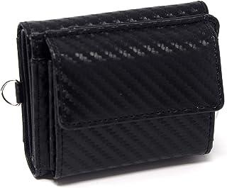 ミニ財布 メンズ レディース [TomCollins] 人気 カーボン レザー 大容量 カード21枚 札入 鍵入 小銭入
