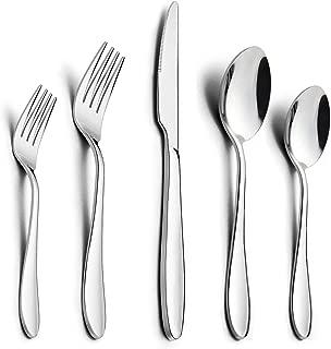 40-Piece Silverware Set, HaWare Stainless Steel Modern Flatware Cutlery Set, Elegant Tableware Set for 8, Dinner Knives/Spoons/Forks, Mirror Polished, Dishwasher Safe