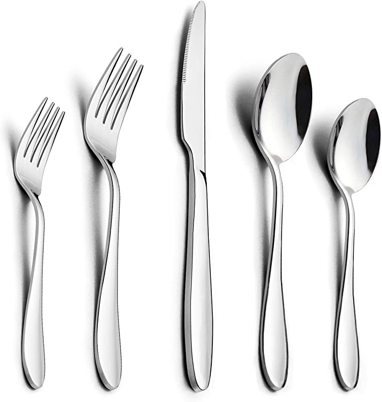 40 Piece Silverware Set HaWare Stainless Steel Modern Flatware Cutlery Set Elegant Tableware Set For 8 Dinner Knives Spoons Forks Mirror Polished Dishwasher Safe