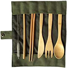 Wooden Bamboo Straw Cutlery Set with Cloth Bag - 6 Pieces