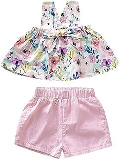Weixinbuy Newborn Baby Girl's Sleeveless Floral Pattern T-Shirt Top Pink Elastic Shorts Clothes Set