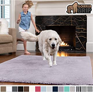 Gorilla Grip Original Faux-Chinchilla Area Rug, 4x6 Feet, Super Soft and Cozy High Pile Washable Carpet, Modern Rugs for Floor, Luxury Shag Carpets for Home, Nursery, Bed and Living Room, Soft Purple