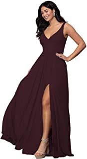 V Neck Split Bridesmaid Dresses Long Chiffon Pleated A line Sleeveless Prom Dress for Women