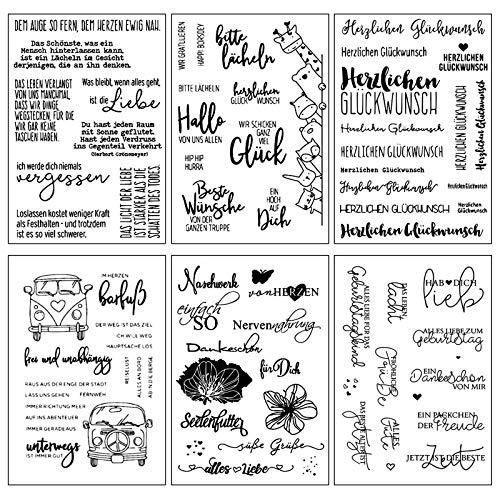 ESHOWEE Silikonstempel Deutsche Texte Set,6 Blätter Geburtstag Deutsch Stempel Set,Clearstamp Set für DIY Bullet Journal Scrapbooking Fotoalbum.Tiere und Blumen Deutsche Buchstaben Stempelset Kinder