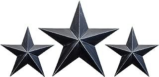 BLACK TIN BARN STAR SET - 2 X 12