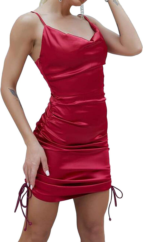 Women 's Drawstring Bodycon Sexy Spaghetti Strap Club Dress Ruched Mini Party Dresses