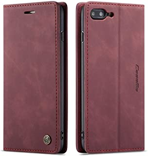 Freezoncom Case for iPhone 7 Plus,Case for iPhone 8 Plus Elegant Retro Leather with ID Credit Card Slot Holder Flip Cover Stand Magnetic Closure Leather for iPhone 7 Plus / 8 Plus Wallet-Wine
