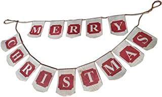 Merry Christmas Banner Burlap Garlands for Fireplace Christmas Tree for Xmas Decoration Party Family Photo Props (Merry Christmas)