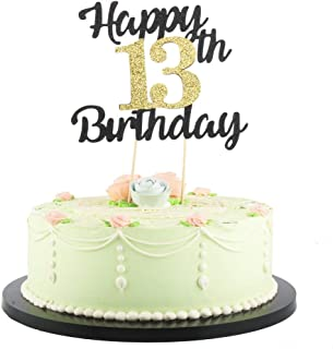 LVEUD Happy Birthday Cake Topper Black Font Golden Numbers 13th Birthday Happy Cake Topper -Birthday Party Decorations (13th)