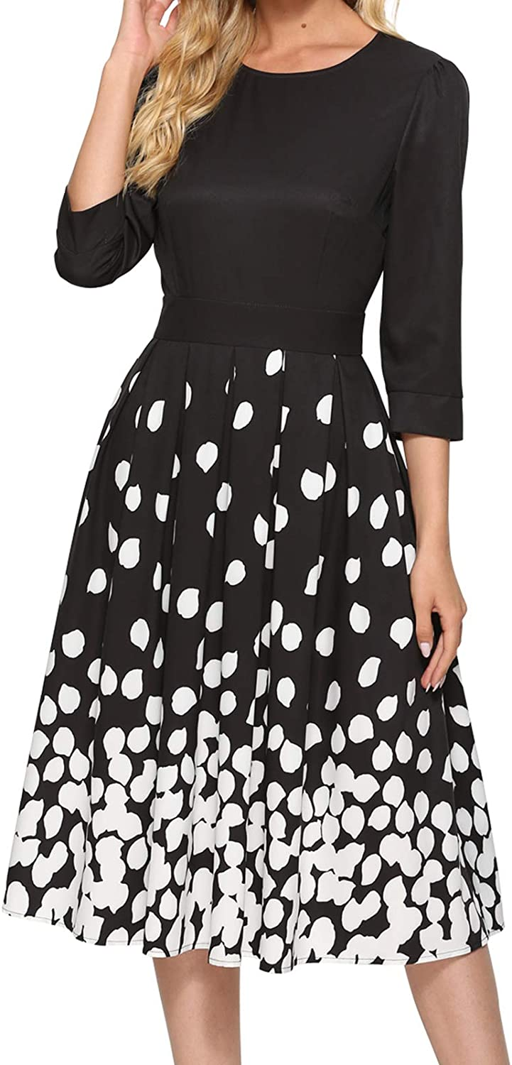 Simple Flavor Women's 3/4 Sleeve Vintage Patchwork Dress Fit and Flare Midi Dress with Pockets
