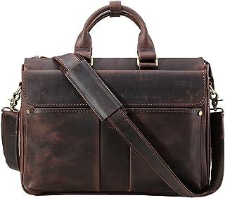 """KIMIBen-CMB Laptop Briefcase Men's Adjustable Shoulder Strap Tote Bag Leather Shoulder Messenger Bag Satchel Crossbody 15.6"""" Laptop Bag Business Briefcase Dark Brown Crossbody Shoulder Bag"""