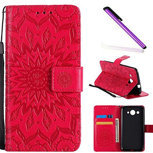 COTDINFOR Huawei Y3 2017 Custodia Premium PU Leather Mandala Fiore Elegante Wallet Custodia a Rilievo Custodia Folio Flip Cover Case con Kickstand Card per Huawei Y3 2017 Red Sunflower KT.