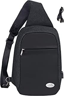 Anti-theft Sling Bag - Crossbody Backpack for Women & Men Travel Bag School Shoulder Backpack with USB Charging Port, Water Resistant Students Men Women Chest Day Bag Black