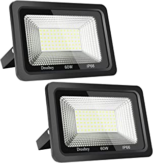Drosbey 60W LED Flood Light, Outdoor Work Light, IP66 Waterproof, Super Bright 5400LM, 5000K Daylight White, 300W Halogen Bulb Equivalent, Spotlight for Yard, Shop, Garage, Garden, Lawn (2-Pack)