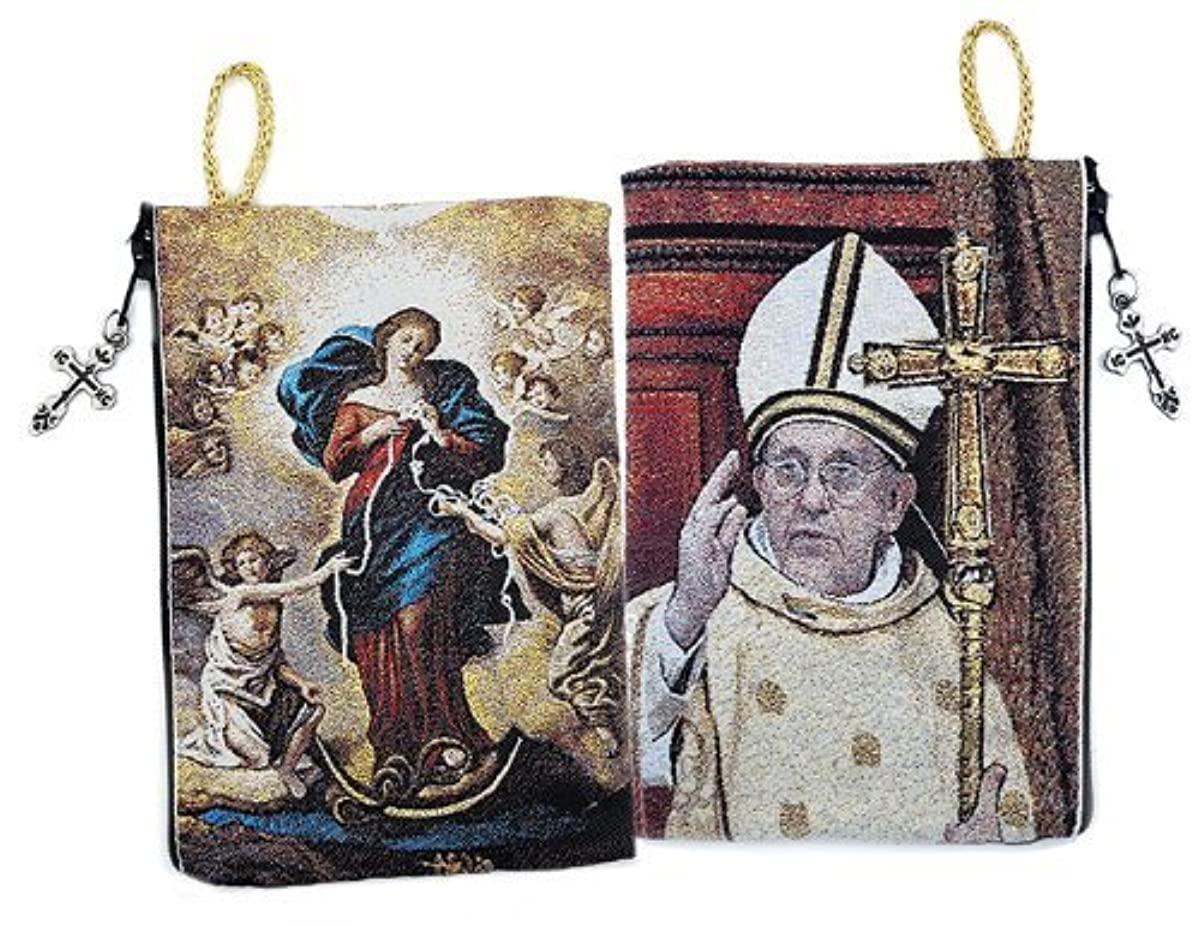 Catholic Our Lady Undoer of Knots & Pope Francis Icon Cloth Tapestry Rosary Zipper Close Pouch 5 3/8 Inch