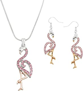 Lola Bella Gifts Crystal Flamingo Pendant Necklace and Earrings Set with Gift Box