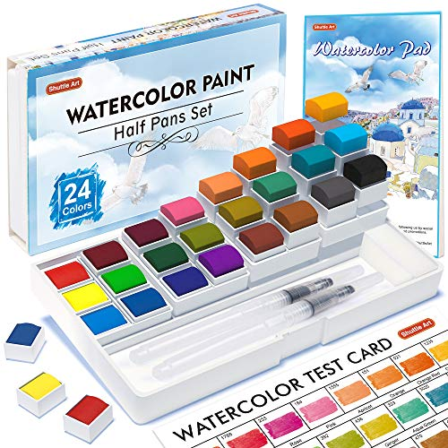 Watercolor Paint Set, Shuttle Art 24 Colors Watercolor Paint in Half Pans with 2 Water Brush Pens, 1 Watercolor Pad, 1 Palette, 2 Color Charts, Complete Watercolor Kit for Kids, Adults, Artists