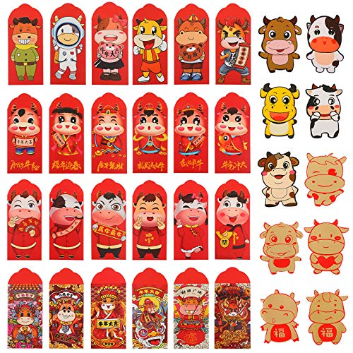 34 Pieces Chinese New Year Red Envelopes 2021 Zodiac OX New Year Lucky Money Packets Chinese Red Packets Spring Festival Hong Bao Money Envelope Present for Spring Festival Wedding Birthday, 34 Styles