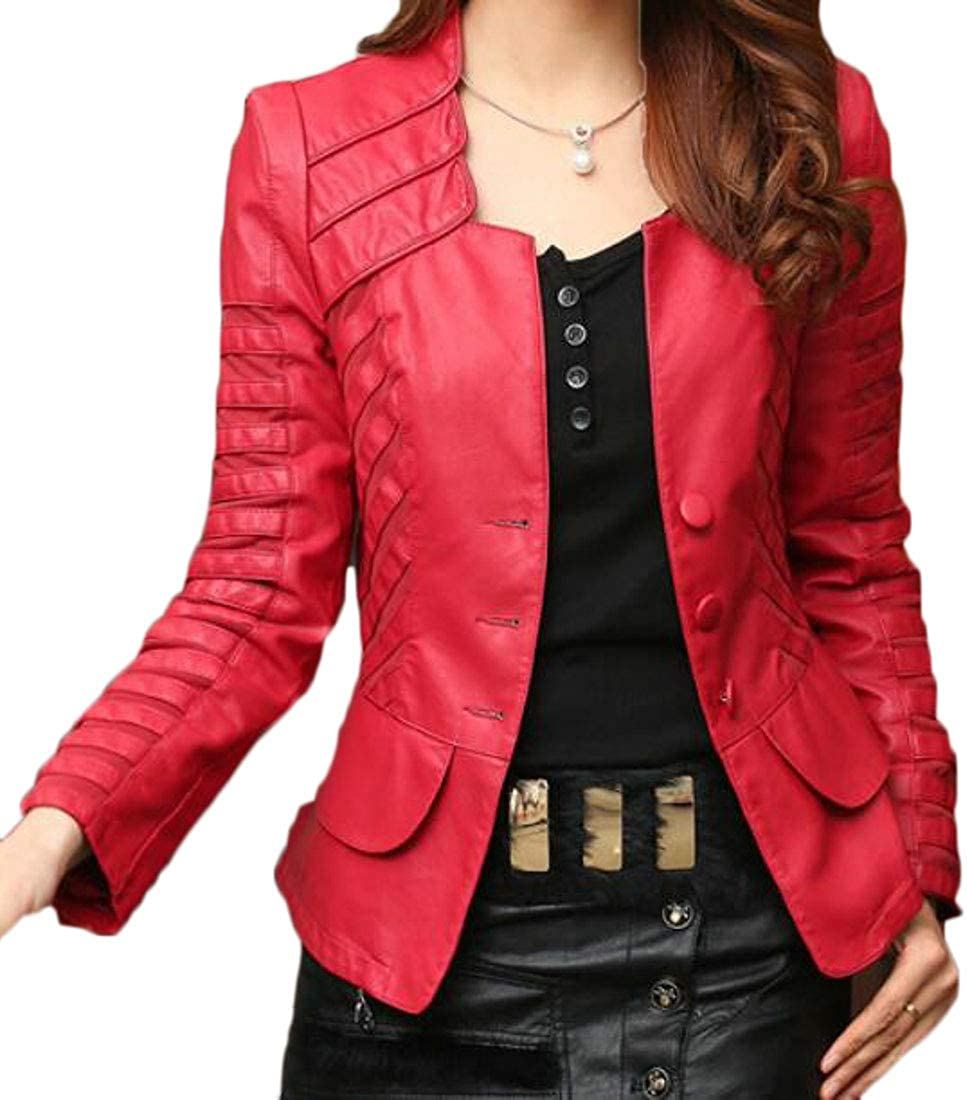 XiaoTianXinWomen XTX Womens Over Sized Lapel Relaxed Fit Patchwork Bomber Faux Leather Jacket Red US 2XL