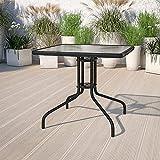 Comforyou Gartentisch mit Sonnenschirmlöchern, Tisch mit Tischplatte aus gehärtetem Glas, Metallrahmen, Couchtisch (80 cm quadratisch)