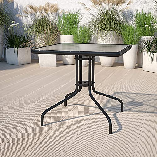 Comforyou Garden Dining Table With Parasol Holes Outdoor Table with Tempered Glass Top Metal Frame Coffee Table (80cm Square)
