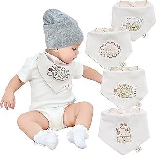 Neutrale organico bambino bavaglini bandana neonato per ragazzi e ragazze 4 pezzi di cotone al 100% bambino dentizione bav...