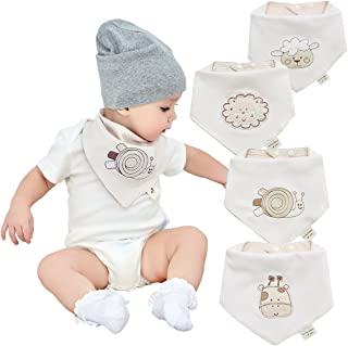 Neutral Organic Baby Bandana Drool Bibs for Boys and Girls 4 Pack-Funny Soft Cute Unisex Baby Teething Bibs and Embroidery Gender Neutral Bibs for Newborns, Infants and Toddlers