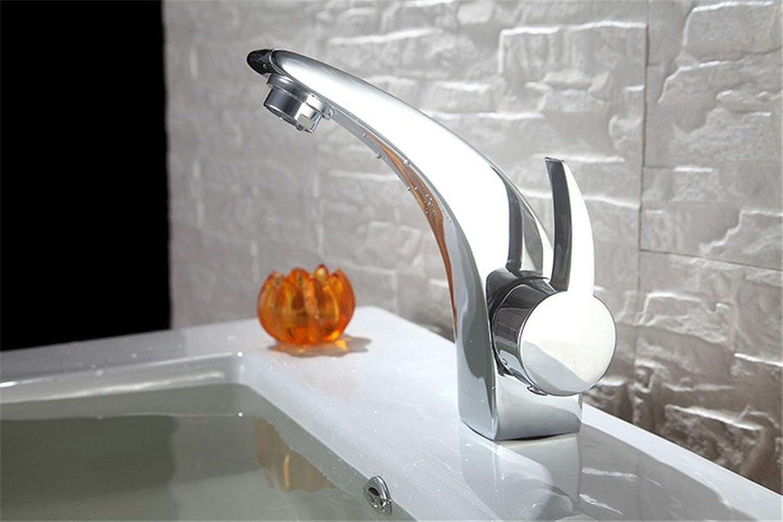 MNLMJ Moderne einfache kupferne heie und kalte Wasserhhne KüchenarmaturModerne minimalistische Retro-Edelstahl aus reinemKupfer Bad Becken Wasserhahn Hotel Geeignet für alle Badezimmer