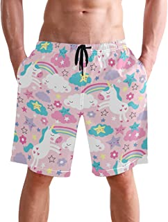 visesunny New Summer Men's Swim Trunks Quick Dry Bathing Suits Holiday Beach Short Casual Board Shorts with Mesh Lining
