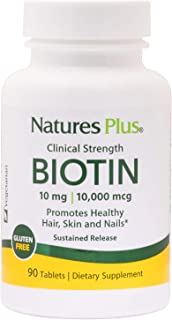 NaturesPlus Clinical Strength Biotin, Sustained Release - 10 mg, 90 Vegan Tablets - High Potency Vitamin B7, Supports Skin...