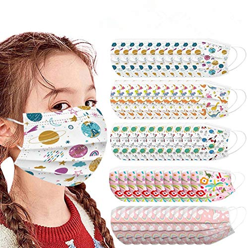 50psc Kids Disposable Face Bandanas 3Ply Dustproof Breathable Cute Print Outdoor Protection for Children Boys Girls