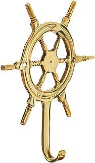Ship's Wheel Wall Hook   Brass Wheel Wall Hook   Perfect for Beach Décor   (One Hook)   Plus Free Nautical Ebook by Joseph...