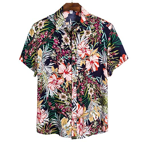 Funky Hawaïenne Chemise pour Hommes, YUYOUG⛱ Chemises Boutonnées Manche-Courte en Coton pour Daily Business Plage Fête Aloha Hawaiian-Imprimer T-shirts Décontractés