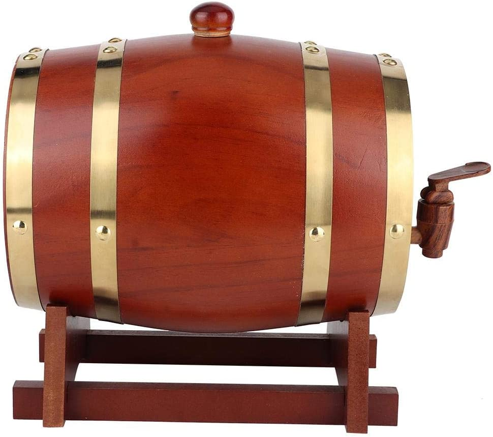 Marron Oscuro BYARSS Barril Madera,Barril de Vino de Madera Barril de Vino de Madera de Pino Vintage Accesorios de elaboraci/ón de barriles de Vino Equipo de preparaci/ón para el hogar 3L