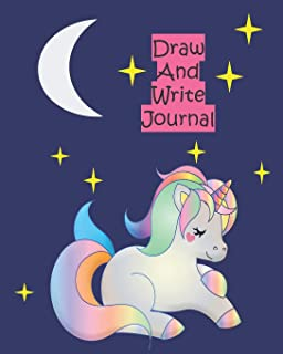 Unicorn Draw And Write Journal For Kids: Half Lined Half Blank Composition Notebook Kindergarten - Size 8x10 -120 Pages
