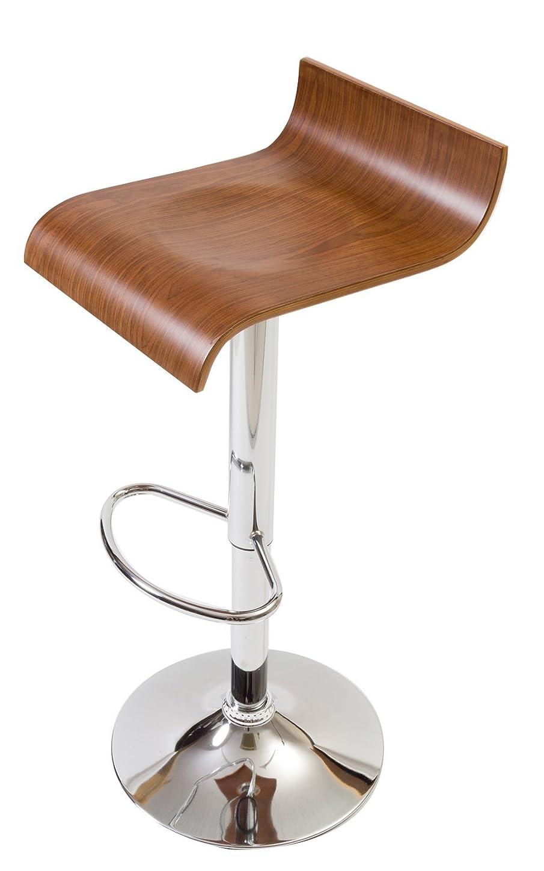 納得させるリサイクルする無視できる【流れるような大胆な木目使いの木製カウンターチェア】 座りやすさにもこだわった曲線デザイン プライウッドの美しいデザイン 座面のくぼみで座りやすい 昇降 360度回転 (ブラウン色)