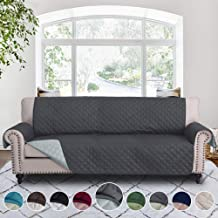 RHF Reversible Sofa Cover-Great for Home with Kids and Pets(Couch Cover for Dogs)-Features Elastic Strap (Sofa-Extra Wide: Darkgrey/LightGrey)