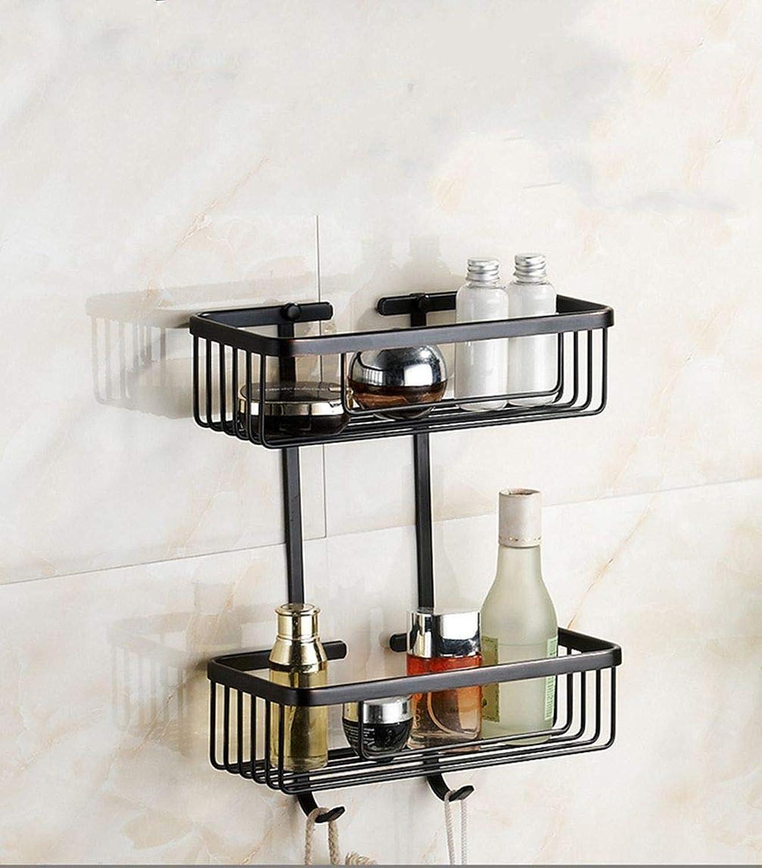 LUDSUY Shelves Full of Copper Bathroom Corners Basket Black Rubber Paint Double Bathroom Accessories Bathroom Hardware Accessories