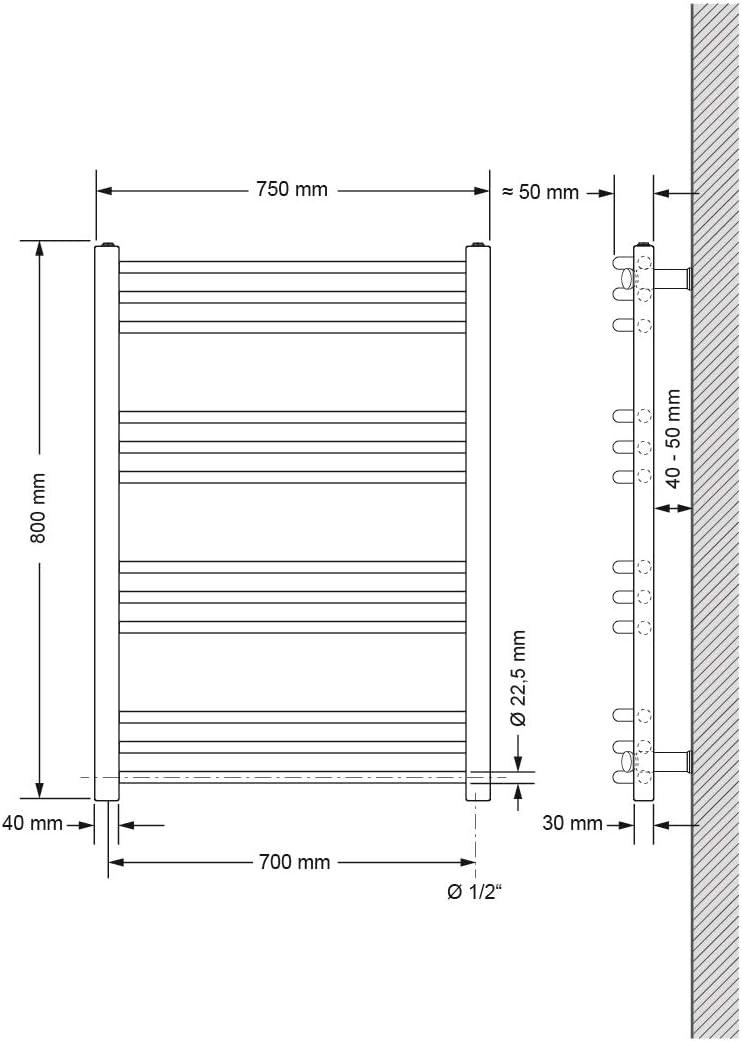 Radiador toallero 300 x 1800 mm Radiador de calefacci/ón Secador de toallas El/éctrico 1200W Barra recta color cromo